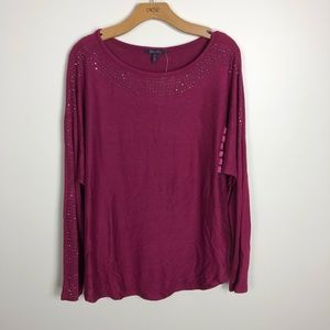 NWT Olivia Sky Women's XXL Studded Long Sleeve